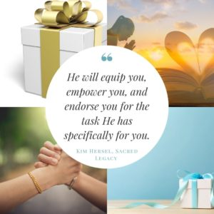 white gift box with gold ribbon, woman praying at sunset, two women clasping hands, white gift box with blue ribbon against a blue background, black text quote from bible study Sacred Legacy